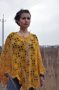 Crochet lace yellow poncho Crochet clothes for women by Nastiin