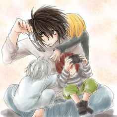 Death Note - L Lawliet, Mihael Keehl, Nate River und Mail Jeevas Death Note L, Death Note Chibi, Death Note Anime, Death Note Fanart, Nate River, L Lawliet, Light Yagami, Shinigami, Manga Anime