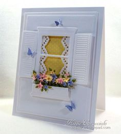 Spring Flowers Window card by Kittie Caracciolo