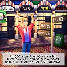 An SEO expert walks into a bar, bars, pub, inn, tavern, public house, Irish pub, drink, drinks, beer, alcohol... #comic #browserling #browsers #alcohol #bar #bars #beer #drink #drinks #inn #irishpub #pub #publichouse #seo #seoexpert #street #tavern New web designer jokes every week! Visit comic.browserling.com for more. PS. We love our fellow Pinteresters. Use coupon code PINLING to get a discount at Browserling! Computer Jokes, Programmer Humor, Nerd Jokes, E Cards, Bars For Home, Funny Comics, Web Development, Twitter, Seo