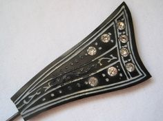 Vintage Art Deco Brooch - Rhinestones on Mourning Hat Pin or Brooch via Etsy