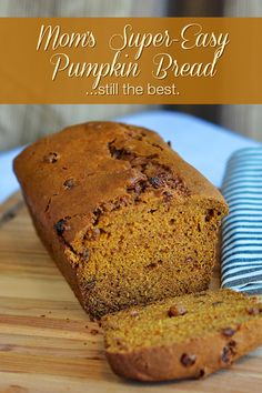The Best Pumpkin Bread - My Mom's decades old, super easy, moist, spicy and delicious pumpkin bread recipe that can even be made using canned pumpkin pie filling instead if you like.