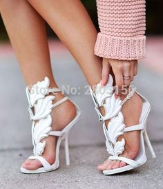 5ec9fa0bd99f1c New Fashion Leaf Strappy Dress Sandals Solid Gladiator Sandals Women High  Heels Shoes Woman Metallic Winged Women Sandals 2017