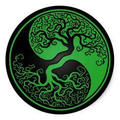 Green and Black Tree of Life Yin Yang Classic Round Sticker | Zazzle