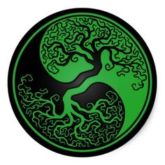 Green and Black Tree of Life Yin Yang