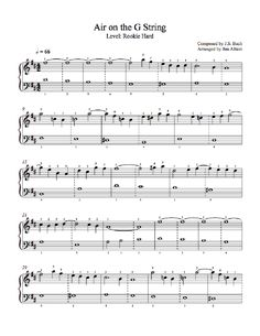 Air on the G String by Johann Sebastian Bach Piano Sheet Music | Rookie Level