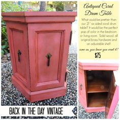 Upcycled vintage coral solid wood end table made by Back In The Day Vintage of Spring, TX  - SOLD