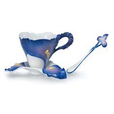 Franz Porcelain Iris Blossom Cup , Saucer & Spoon