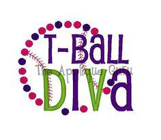 Tball Diva -- Machine Embroidery Design. $4.99, via Etsy.