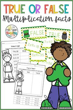 A multiplication hands on activity that students have to sort facts into true or false statements. It has 3 sets of 12 cards with facts and two worksheets, one cut and paste and one to fix the sentences for each set.