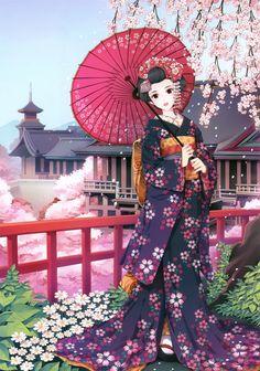 Princess with pink parasol & purple kimono by manga artist Nardack.