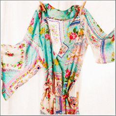 { Kimono Style Robe. Ankle Length. Silk Road Sweet. - Plum Pretty Sugar }