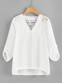 Stylish Outfits, Fashion Outfits, White Lace Blouse, Abaya Fashion, Blouse Outfit, Blouse Styles, White Fashion, Lace Tops, Types Of Sleeves