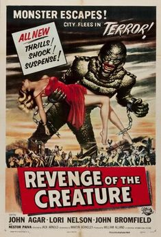 Revenge of the Creature is the first sequel to Creature from the Black Lagoon. The film is notable for being the only 3-D film to be released in 1955 and the only 3-D sequel to a 3-D film. The movie was released May 11, 1955, in the United States. It was followed by a sequel in 1956, The Creature Walks Among Us. SPOILER ALERT!!!!! Having survived being riddled with bullets at the end of The Creature from the Black Lagoon, the Gill-man is captured and sent to the Ocean Harbor Oceanarium in…