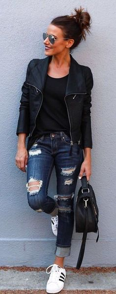 #fall #outfits Black Leather Jacket Ripped Skinny Jeans - Tap the pin if you love super heroes too! Cause guess what? you will LOVE these super hero fitness shirts! #jeansoutfit