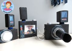 Foto camera met schermpje en lens knutselen met kleuters, kleuteridee.nl, thema fotograaf, met gratis download.