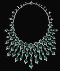 Bulgari - Collier - Diamants et émeraudes - années 70