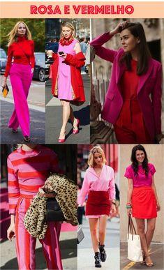 Colorblocking rosa e vermelho Pink Fashion, Colorful Fashion, Fashion Looks, Fashion Outfits, Womens Fashion, Color Blocking Outfits, Parisienne Chic, Stylish Outfits, Cool Outfits