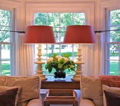 Turned white lamps in Barbara Cosgrove's bay window White Lamps, White Table Lamp, Table Lamps, Bay Window Living Room, Home Living Room, Living Spaces, Half Curtains, Loveseat Sofa, Furniture Arrangement