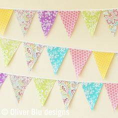 Mini pennant fabric banner  bunting in bright by oliverbludesigns, $18.00