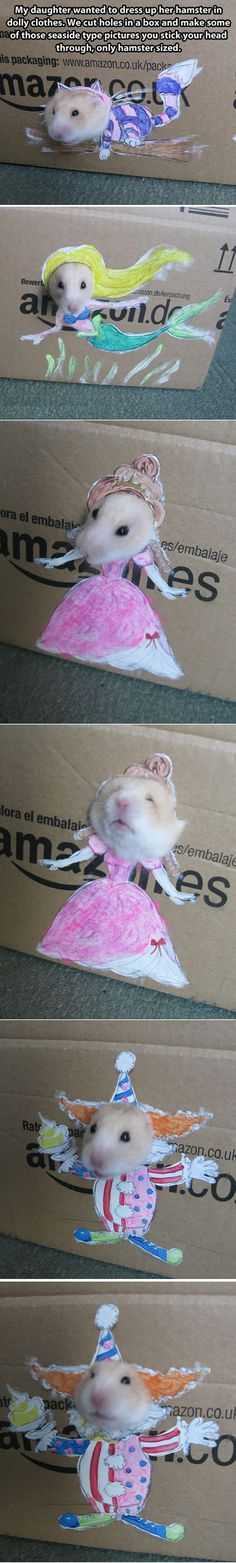 A good parenting should be like this, my daughter asked us to dress up her hamster...
