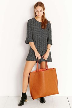 Oversized Reversible Vegan Leather Tote Bag - Urban Outfitters