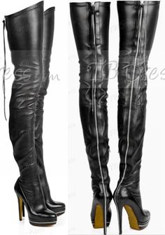 Black Leather Stiletto Boots