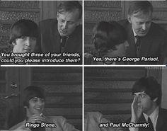 John Lennon introduces his three friends - George Parisol, Ringo Stone, Paul McCharmly