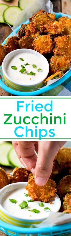 Coated in Panko crumbs with a little Parmesan cheese, these crispy Fried Zucchini Chips make a tasty summer treat.