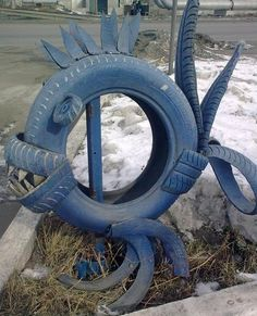 Interesting DIY Ideas to Recycle Old Tires With Fish Animal Craft from Tires
