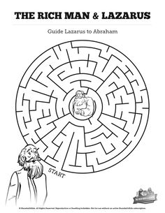 Luke 16 Lazarus and the Rich Man Bible Mazes: Can your kids find their way through each twist and turn of this Lazarus and the Rich Man activity? Featuring beautiful artwork, this Lazarus and the Rich man Bible maze is perfect for your upcoming Luke 16 Sunday school lesson.