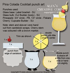 Alex's Creative Corner: Pina Colada Cocktail punch art instructions Tarjetas Stampin Up, Stampin Up Cards, Scrapbooking, Scrapbook Cards, Scrapbook Albums, Owl Punch Cards, Paper Punch Art, Owl Card, Craft Punches