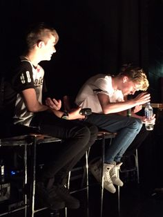 When Charlie Lenehan from the Duo Bars And Melody tries to talk into a mic while doing his water bottle lid up