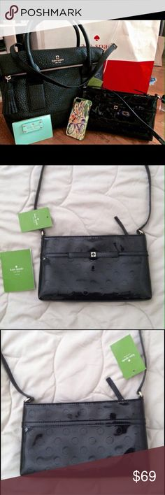 """Kate Spade Camellia Street Amy Crossbody KSNY authentic, new with tags black patent leather crossbody with polka dot embossed pattern and zip top closure.Measures 9.5 x 5.5 x 1"""". No dustbag kate spade Bags"""
