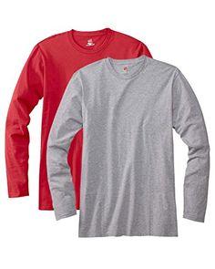 Hanes Men's 2 Pack Long Sleeve Nano T-Shirt - 1 Deep Red / 1 Light Steel - X-Large - http://www.darrenblogs.com/2016/12/hanes-mens-2-pack-long-sleeve-nano-t-shirt-1-deep-red-1-light-steel-x-large/