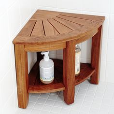 Teak Benches For Sale! Discover the top-rated teak benches and teak shower benches for your indoor or outdoor space. We love teak wood benches and you will too. Corner Shower Bench, Corner Bench With Storage, Shower Benches, Wooden Shower Bench, Corner Shelves, Shower Storage, Shower Shelves, Bathroom Shelves, Benches For Sale