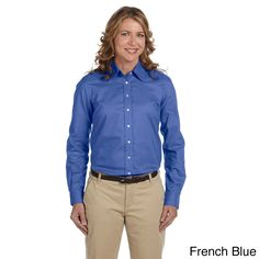 Plus Size Women's Performance Plus Oxford Collared Top