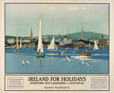 Irish Art Travel Poster, Dun Laoghaire Kingston, County Wicklow, Ireland, by Norman Wilkinson by Endless Forms Most Beautiful, via Flickr