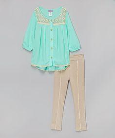 Look what I found on #zulily! Mint Crochet Top & Tan Leggings - Girls by Maya Fashion #zulilyfinds
