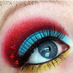 Supercute Wonder Woman inspired look by Glittergirlc using Sugarpill and Makeup Geek eyeshadows. Beautiful clean lines and blending, and love the color contrast!