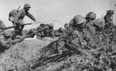 Japanese soldiers prepared to launch an attack