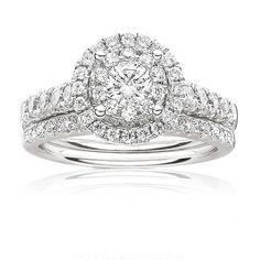 Serie Brilliant-Cut Diamond Halo Engagement Ring 1ct. T.W.