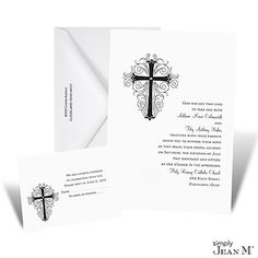 Elegant Cross Wedding Invitation - White