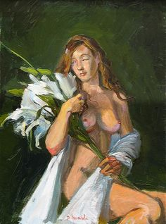 The Girl With The Lilies, oil painting from the live model by Dominique Amendola, nude, female, seated. Prints are available for this artwork, just click on the image.
