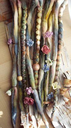 10 Dusty Dawn Flower Maiden Tie-Dye Wool Synthetic Dreadlock *Clip-in Extensions…