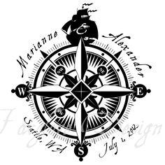 Nautical Wedding Monogram or Business Logo - Compass Rose - Digital File. $10.00, via Etsy.