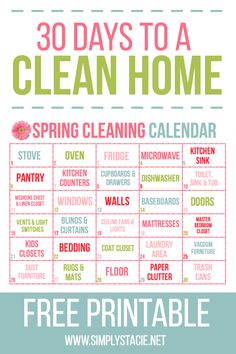 spring cleaning checklist 30 Day Spring Cleaning Calendar -You are 30 days away from a fresh, clean home! Use this free 30 Day Spring Cleaning Calendar printable to breakdown a big job into small, manageable tasks. Spring Cleaning Checklist, Deep Cleaning Tips, House Cleaning Tips, Cleaning Solutions, Cleaning Hacks, Cleaning Quotes, Cleaning Challenge, Party Checklist, Drawer Dishwasher