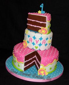 Avas 1st Birthday! - I made this cake for my daughters 1st birthday. Happy Birthday baby girl! Everything is fondant including the base. The top cake slice is Avas smash cake.