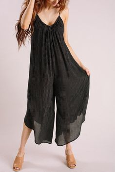 bc71b178226 Stephanie Black Polka Dot Jumpsuit. Morning Lavender