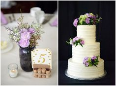 Lavender, green and gold wedding theme shown in both the wedding cake and place settings at Medina Country Club Wedding
